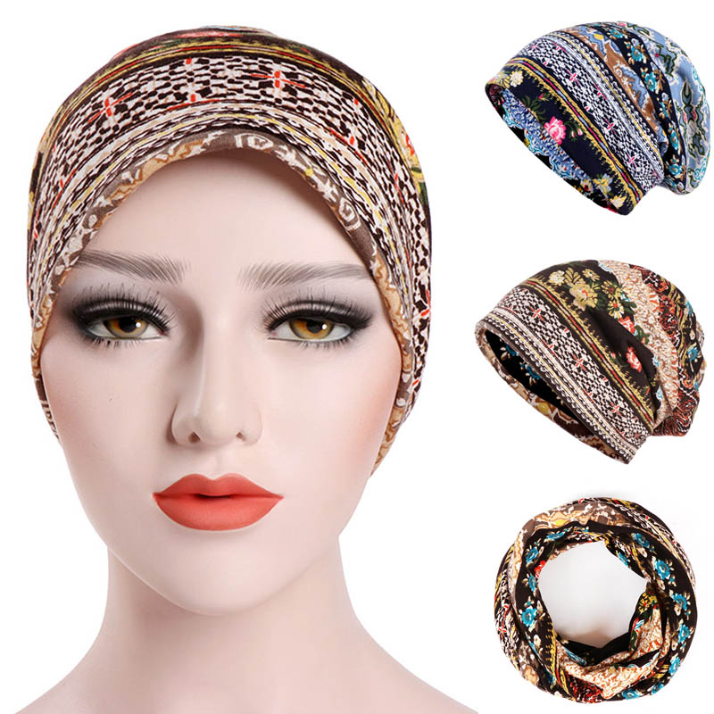 Women's Thin Caps Hat Headwear Underscarf Sunproof Lady Girl Cotton Printing Muslim Hijab -MX8