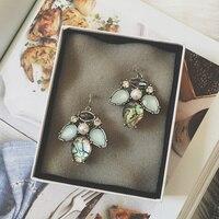 South Korea Retro Temperament Blue Pearl Gem Exaggerated Flower Earrings Long Earrings Earrings Earrings R Women