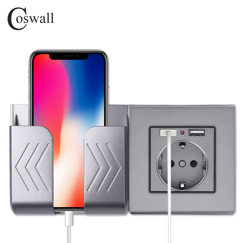 COSWALL Dual USB Lade Port 16A Wand EU Russland Buchse Power Outlet Glas Panel PC Panel Matte Grau Farbe