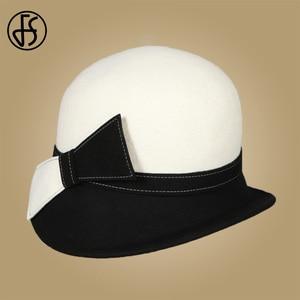 Image 4 - FS Wide Brim White Wool Hats Bow Bowler Fedora Hat For Women Chapeau Femme Feutre Winter Cloche Ladies Church Felt Fedoras Caps