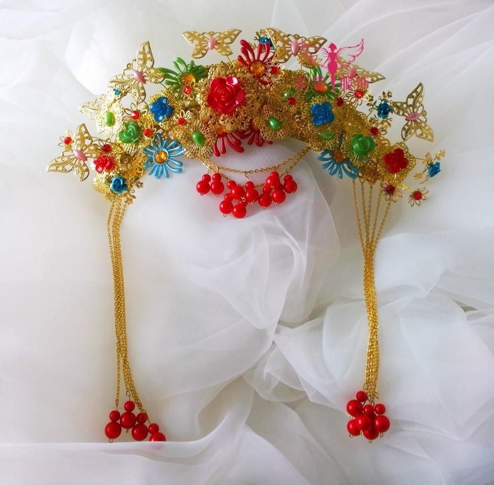 Gorgeous Bride Wedding Hanfu Hair Tiaras 00009 red gold bride wedding hair tiaras ancient chinese empress hair piece