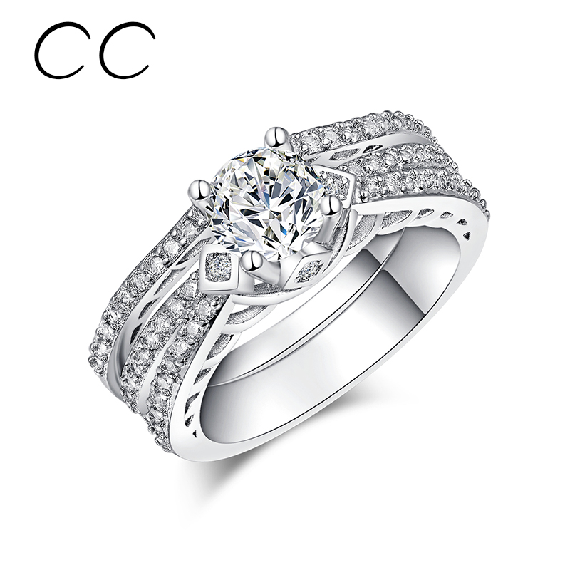 beautiful engagement rings for women 2 piecesset stakable ring luxury female wedding jewelry anillos - Beautiful Wedding Rings