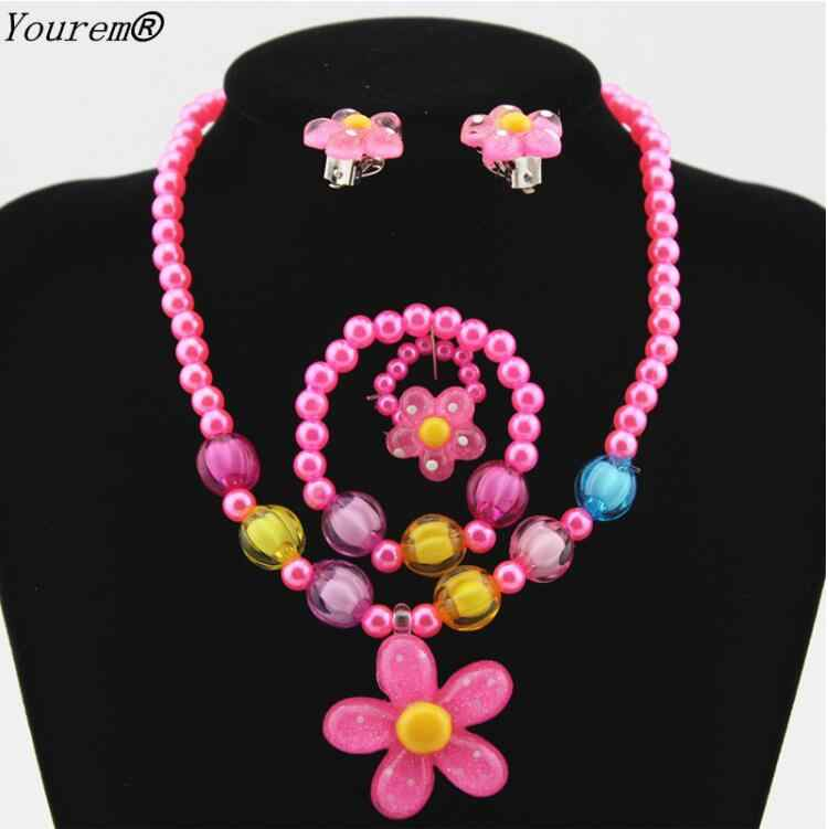 kids children flowers bracelet rings Necklace Earrings Jewelry Sets for women wedding party jewelry alloy nickel free wj492