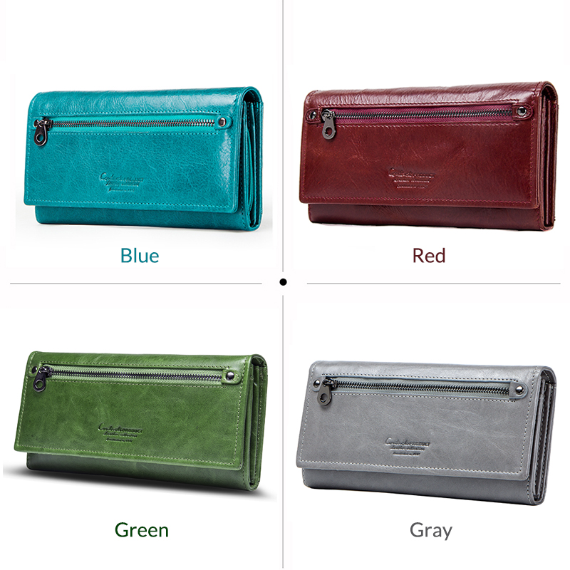 Contact's Genuine Leather Women Long Purse Female Clutches Money Wallets Brand Design Handbag For Cell Phone Card Holder Wallet #6