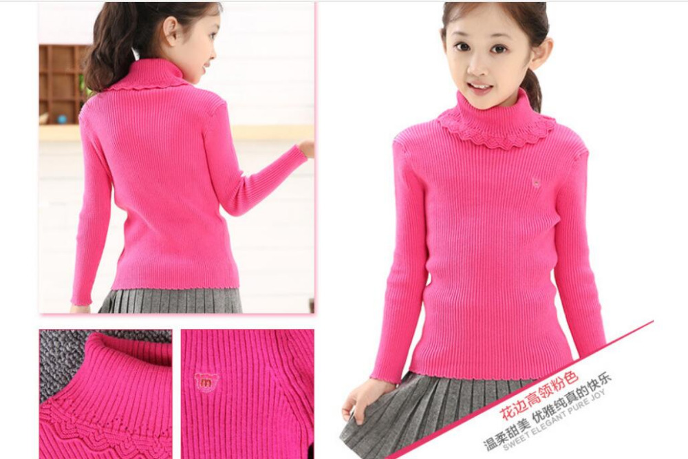 Turtleneck Pullover Knitted Sweater Solid Casual Girls Clothes Spring Sweet Princess Costume Winter Warm Bottoming Shirt