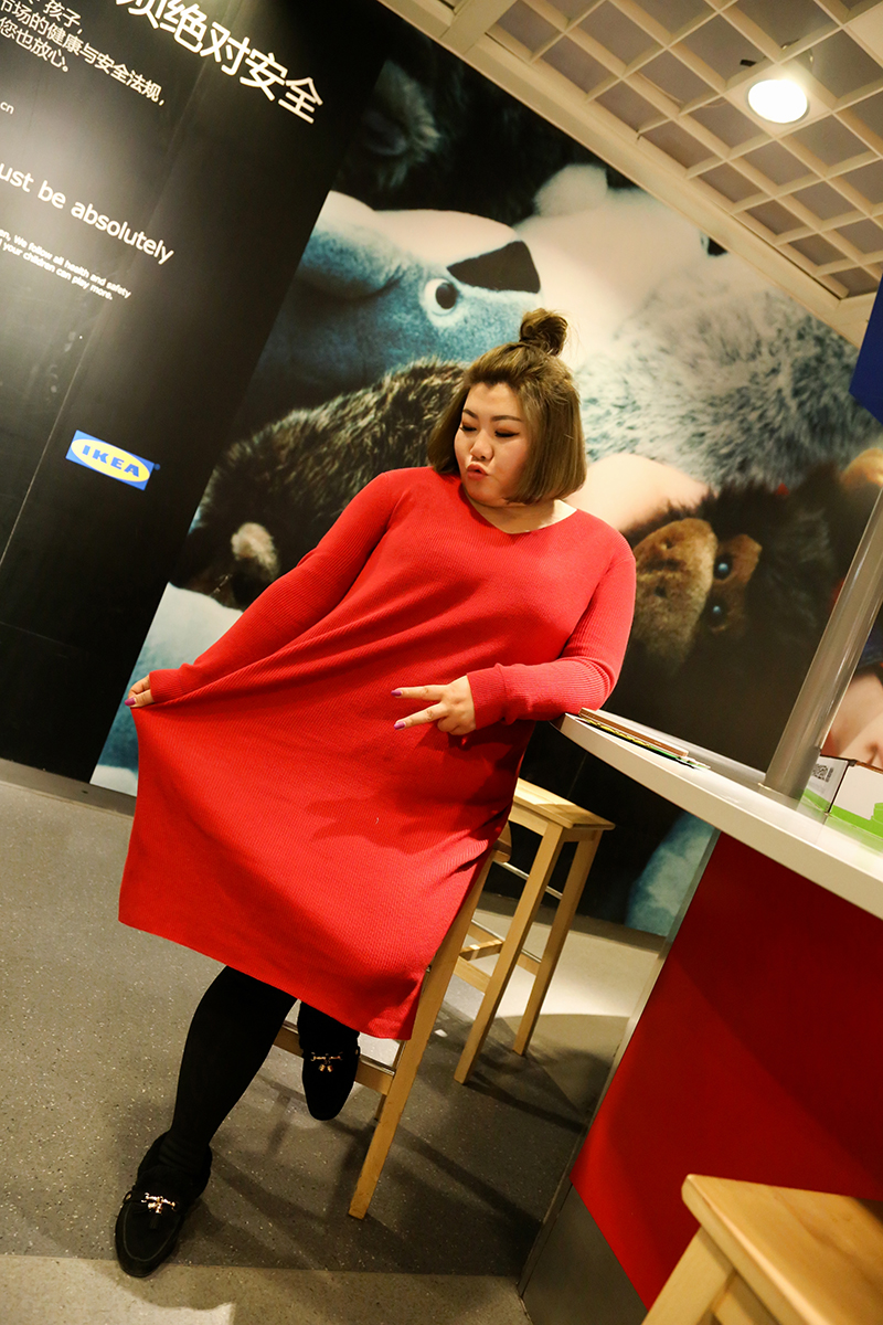 Otoño Jersey Las Rosa Sección Redondo De Rojo 2018 Y Suelta Cuello Gran Estiramiento Larga Tamaño azul negro Beige Suéter Mujeres Grande rpZr1Owq