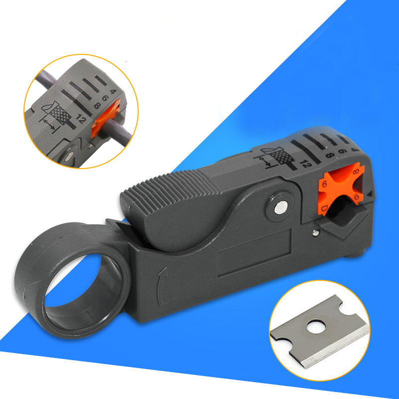 Urijk 1Pcs Multi Tool Cable Stripper Adjustable Double Blades RG6/59 Wire Stripper Automatic Cable Cutter Pliers for Household