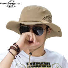 BINGYUANHAOXUAN Mens Summer & Spring Fashion Fisherman Hat Casual Western Travel New
