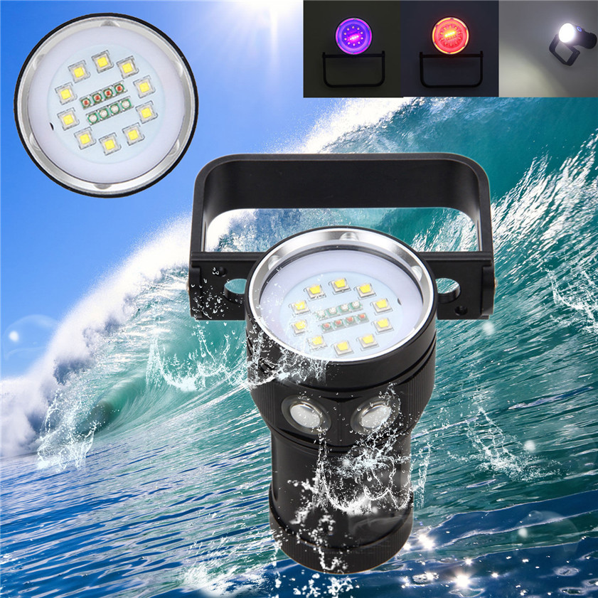 Super 12000LM 10x XM-L2 LED Underwater 100m Scuba Diving Flashlight Torch+18650+Charge 170622 100m underwater diving flashlight led scuba flashlights light torch diver cree xm l2 use 18650 or 26650 rechargeable batteries