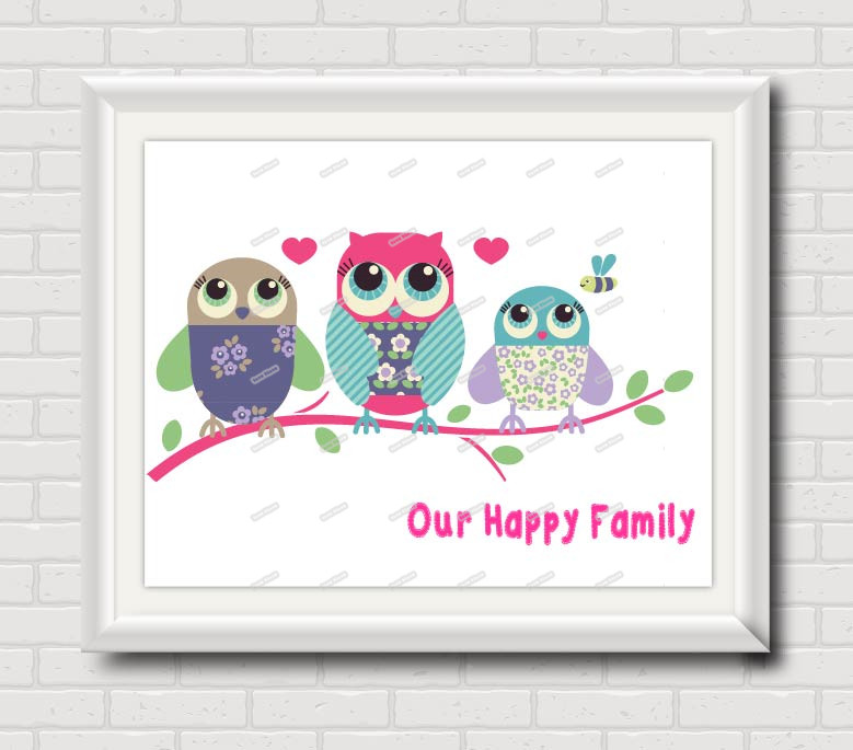 Owl Family Nursery Wall Art poster Print Modern Pictures Kids room