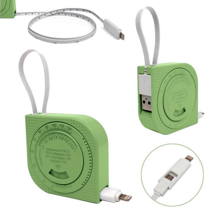 2 in 1 Ruler Cable Retractable Tape Measure Style Micro USB Data Charge Cable for iPhone iPad Samsung Android 4 Colors Available_15