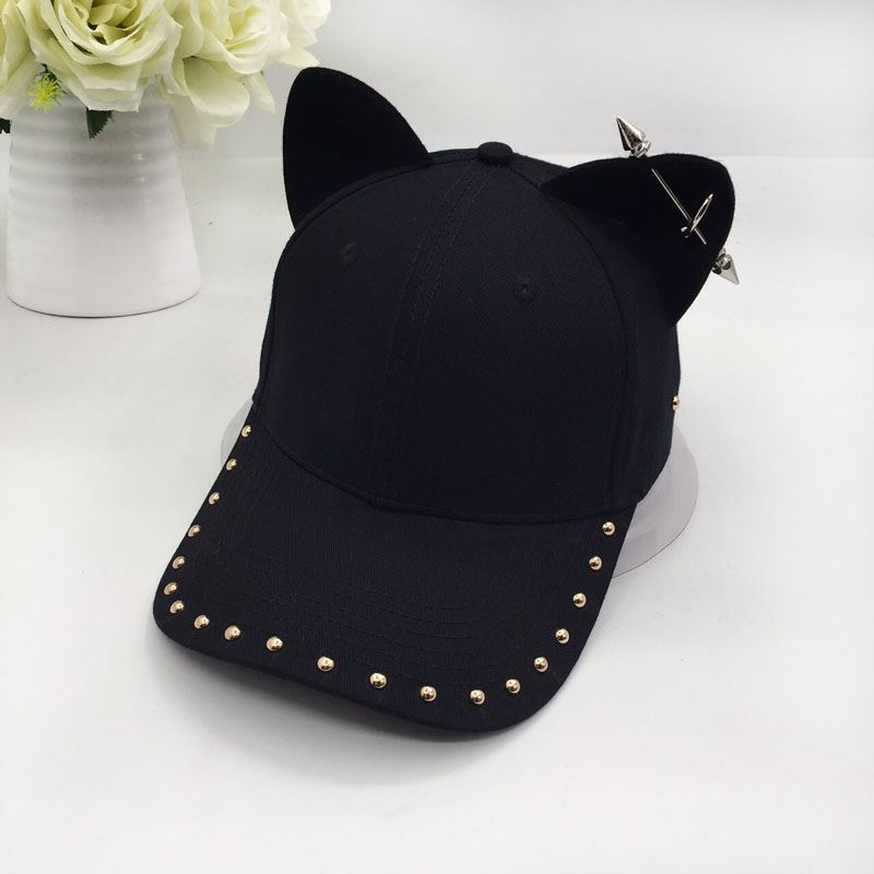 metal baseball cap female cotton equestrian cap ears 1