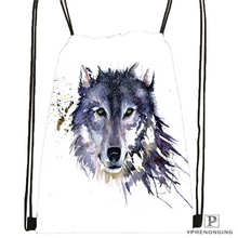 Custom wolf_moon_by_kyghost@01- Drawstring Backpack Bag Cute Daypack Kids Satchel (Black Back) 31x40cm#180611-03-107