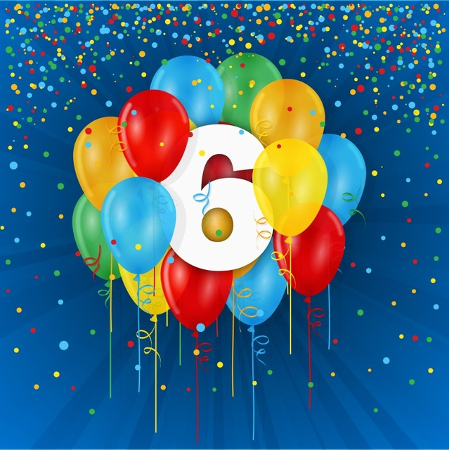 Laeacco Happy 6th Birthday Balloon Radiative Stripes Photography Backgrounds Customized Photographic Backdrops For Photo Studio