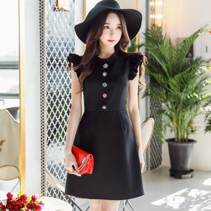 original 2018 brand vestidos de fiesta slim butterfly sleeve diamond buttons elegant black summer party dresses women wholesale