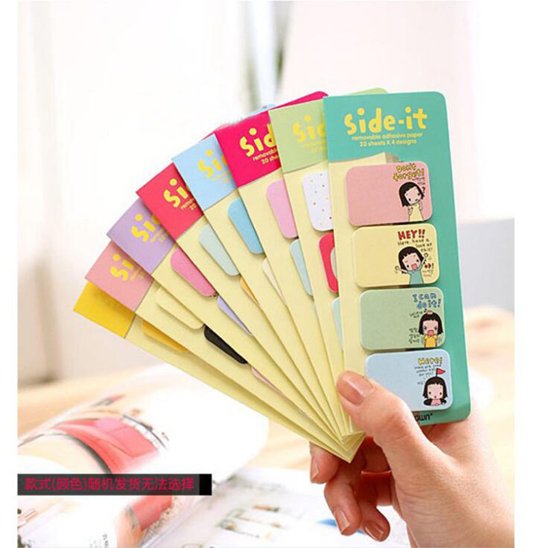 Mini Sticky Notes Bookmark Cute Cartoon Girl Message Note Note Child Decals Gift Office Stationery (Random Color) 3pcs
