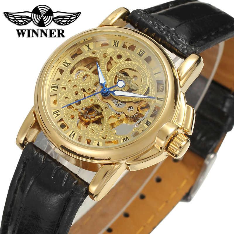 Модный победитель Топ бренд прозрачный золотой чехол Роскошный Повседневный дизайн коричневый кожаный ремешок мужские часы механические часы Скелет