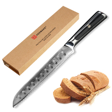 xituo 2018 new damascus knife 8 inch professional chef knife 67 layer japanese damascus steel vg 10 blade kitchen knives forging KEEMAKE Chef Knife 8 inch Bread Knife Kitchen Knives Japanese Damascus VG10 Steel Razor Sharp Blade Cake Cut Tools G10 Handle