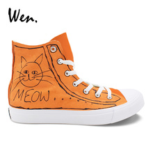 Wen Hand Painted Shoes Sneakers MEOW Cartoon Cat Design Custom High Top Women And Men Casual Canvas Outdoor Footwear Big Size 49