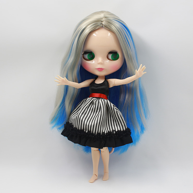 Free shipping Nude Doll For Series No.230BL60283167 Joint Doll Blue mix wihte hair SuitableForDIY Change BJD Toy For Girl цена