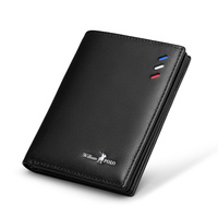 WILLIAMPOLO 2019 Men Genuine Leather Slim Wallet Card Holder Purse Short Male Wallets Small Wallet Gift Packing PL181368