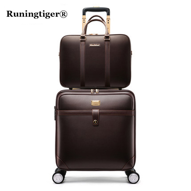 Retro Rolling Luggage Set Spinner Women Trolley Case 24inch Travel Suitcase Set Wheels 20inch PVC Vintage Cabin Travel Bag Trunk