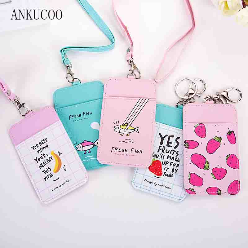 New Cute Fruits /Bear /Fish Shaped Named Card Holder Identity Badge with Lanyard PU Neck Strap Card Bus ID IC Holders high grade pu card holder staff identification card neck strap with lanyard badge neck strap bus id holders