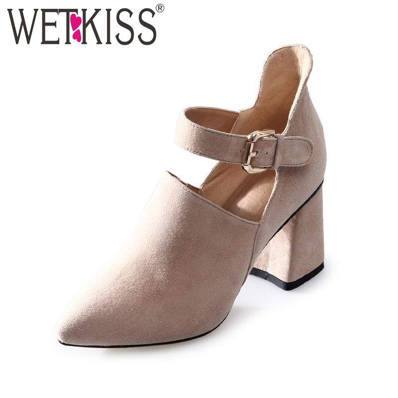 WETKISS New High Heels Women Pumps 2018 Brand Spring Fashion Ladies Shoes Ankle Strap Pointed Toe Hoof Heels Buckle Footwear pointed toe dress shoes ladies pumps high heels ankle strap footwear 4 34 small size crystal stiletto 2017 7cm 3 inch silver