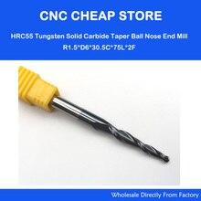 2 UNIDS 6mm * R1.5 * 30.5 * 75L, CNC NANO HRC55 extremo sólido del carburo mill, madera cónico cnc router bit, 2 flautas bola cónico