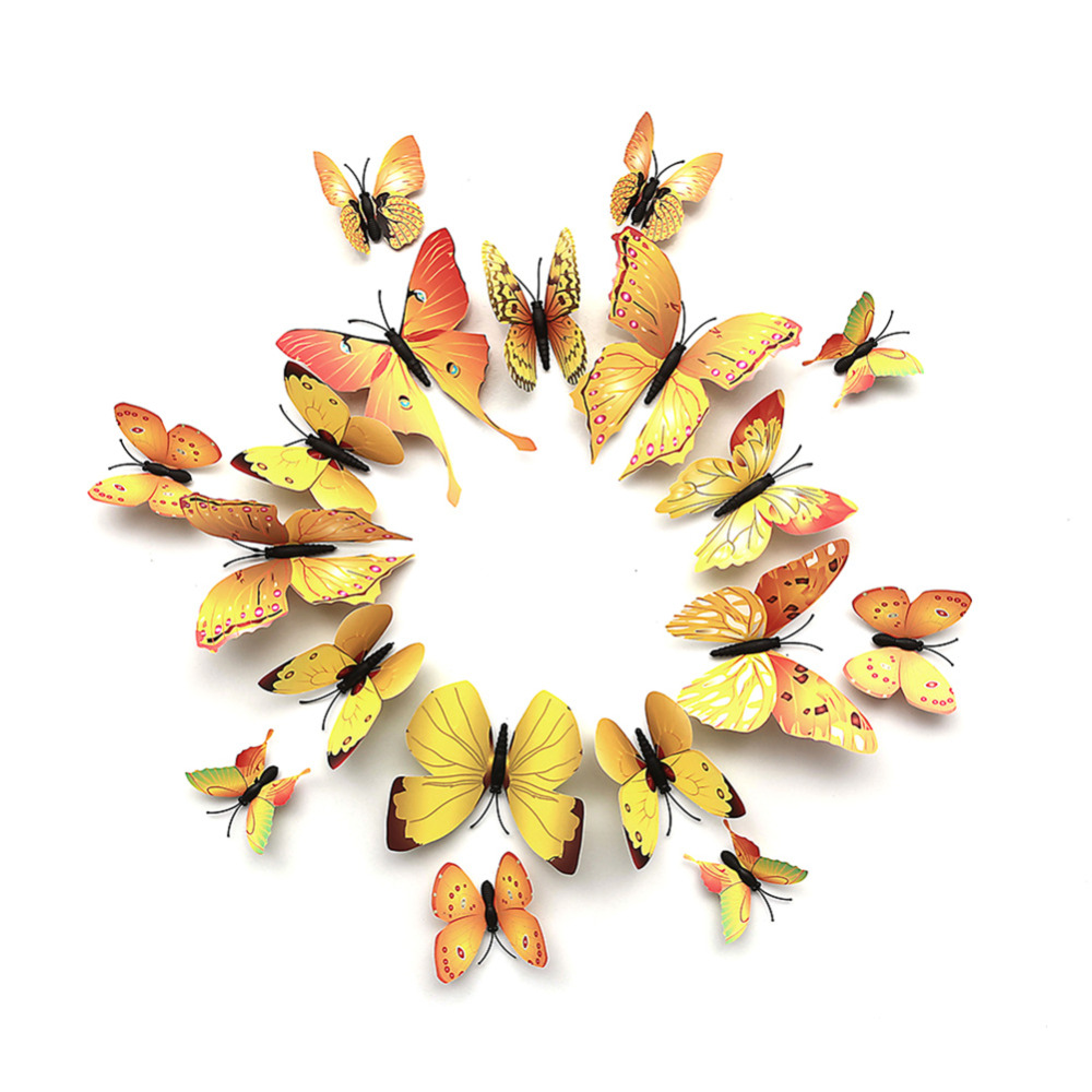 Online Shop NAIYUE 12pcs PVC 3D Butterfly Wall Decor Cute Magnet ...