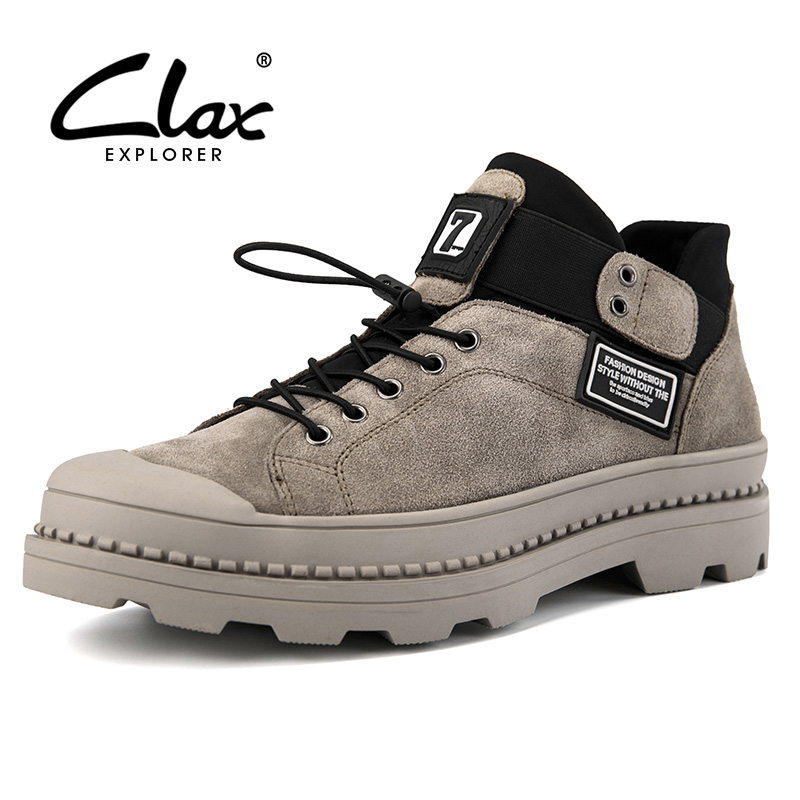 CLAX Men's Ankle Boots Fashion Spring Autumn Work Boots Male safety shoes Suede Leather Casual Shoe chaussure homme plus size clax men ankle boots 2017 autumn casual shoes for male leather work shoe safety british style oxford fashion footwear