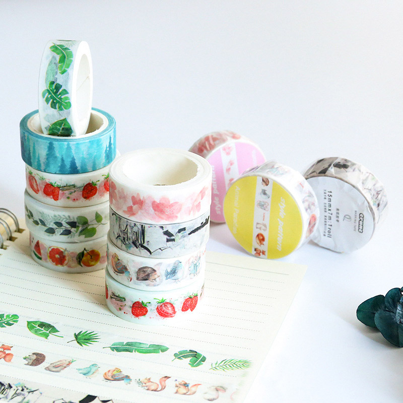Kawaii Cartoon Cat Masking Washi Tape DIY Cute Fruit Adhesive Tape For Scrapbook Photo Album Home Decoration Korean Stationery diy cute kawaii cartoon 5mm slim washi tape lovely fruit adhesive tape for decoration photo album school free shipping 3454 page 8