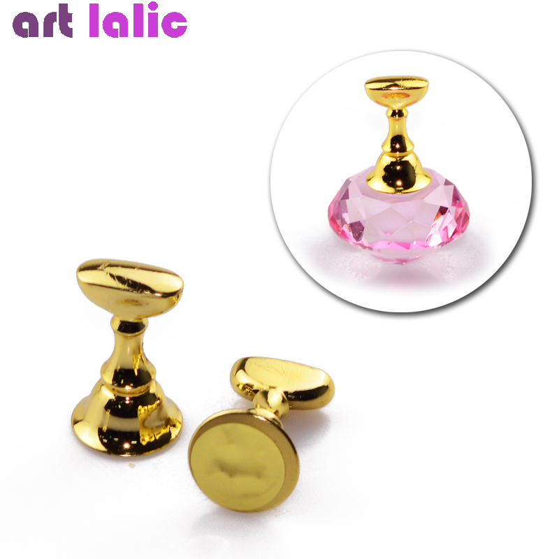 1 Pc Replaceable Magnetic Nail Tips Armor Holder Practice Training Display Gold Alloy False Nail Tip Salon DIY Manicure Tools