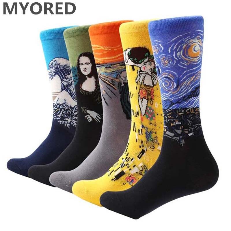 MYORED 5 Pair/lot Men's Painting Socks Cotton Retro Oil Painting Socks Crew Funny Sock Casual Dress Colorful Wedding Gift Socks
