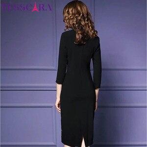 Image 5 - TESSCARA Autunno Delle Donne di Lusso Del Ricamo Del Vestito Femminile Elegante Ufficio Matita Veste Femme Retro Vintage Abiti Plus Size Abiti S 4XL