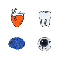 Fashion Cartoon Eyes Teeth Heart Organ Brooch Female Chic Mini Personality Human Shirt Collar Needle Jewelry