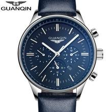 GUANQIN Мужчины Спорт Лучший Бренд Роскошные Кожаные Кварцевые Часы мужской Моды Случайные Большой Циферблат Дата Световой Наручные Часы reloj hombre