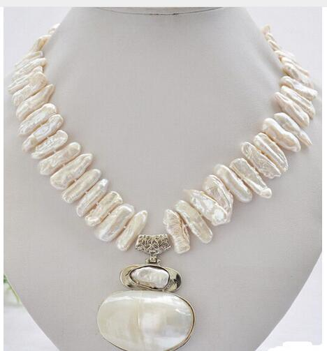 Big 25mm white biwa dens freshwater pearl necklace mabe pendant Beads 925 silver wedding Women Gift
