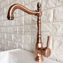 Bathroom Faucet Antique Red Copper Basin Faucet Deck Mounted Single Handle Single Hole Hot And Cold Water Tap Nnf415 недорого