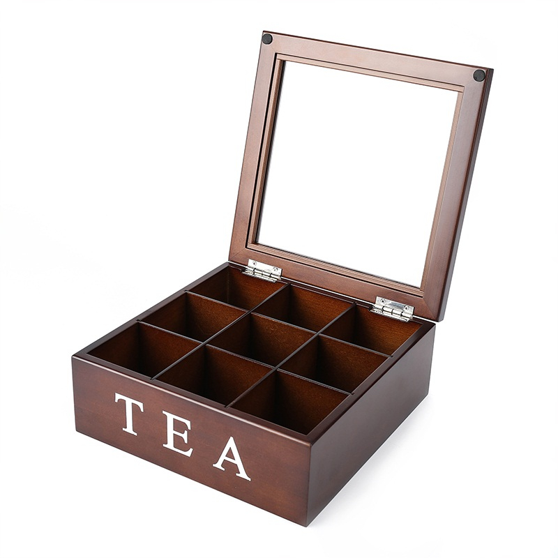 9 Grids Storage Box Bin Wood Organizer Large Wood Tea Caddy Tea Coffee Candy Storage Box