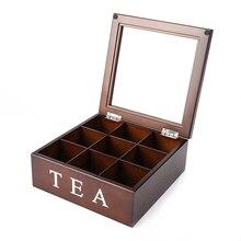 9 Grids Storage Box Bin Wood Organizer Large Wood Tea Caddy Tea Coffee Candy Storage Box with Grid Removable