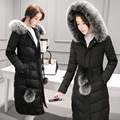 2016 Inverno New Mulheres Casaco Longo Para Baixo Gola De Pele Artificial Sólida Acolchoado Jaqueta Plus Size Espessamento Outerwear