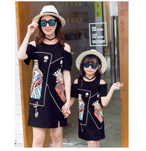 Off Shoulder Mother Daughter Dress Family Look Mommy and Me Matching Outfits Poker Face Mom Mum Mama Dresses Clothes CP