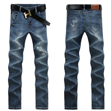 Fashion England Style Men Younger Denim Pants Hot Sale Scratched Dress Jeans Hot Style Preppy Younger Cowboy Pants Jeans UK379