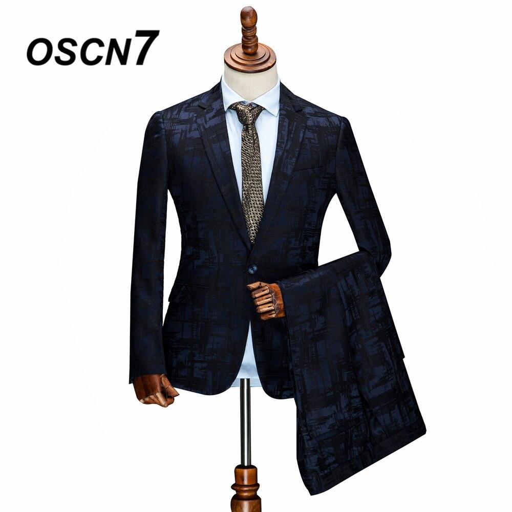 OSCN7 2019 imprimer sur mesure costumes hommes Slim Fit fête de mariage hommes sur mesure costume mode 3 pièce ZM-256 fournisseur personnalisé