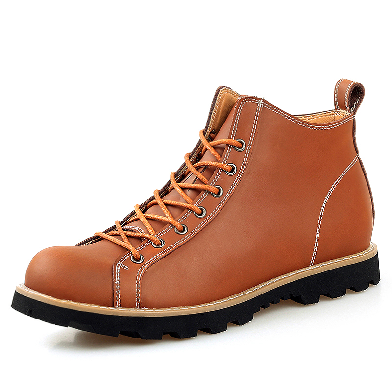 ФОТО Best Seller Men Ankle Boots Black / Brown Color HighTop Autumn Men Full Grain Leather Boots Sewing Pattern Casual Men Boots