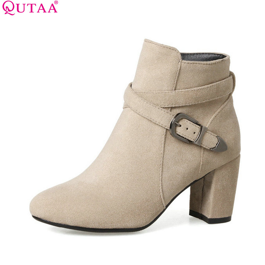 QUTAA 2018 Westrn Style Zipper Women Ankle Boots High Quality Square High Heel Round Toe Ladies Motorcycle Boots Size 33-43 vinlle women boot square low heel pu leather rivets zipper solid ankle boots western style round lady motorcycle boot size 34 43