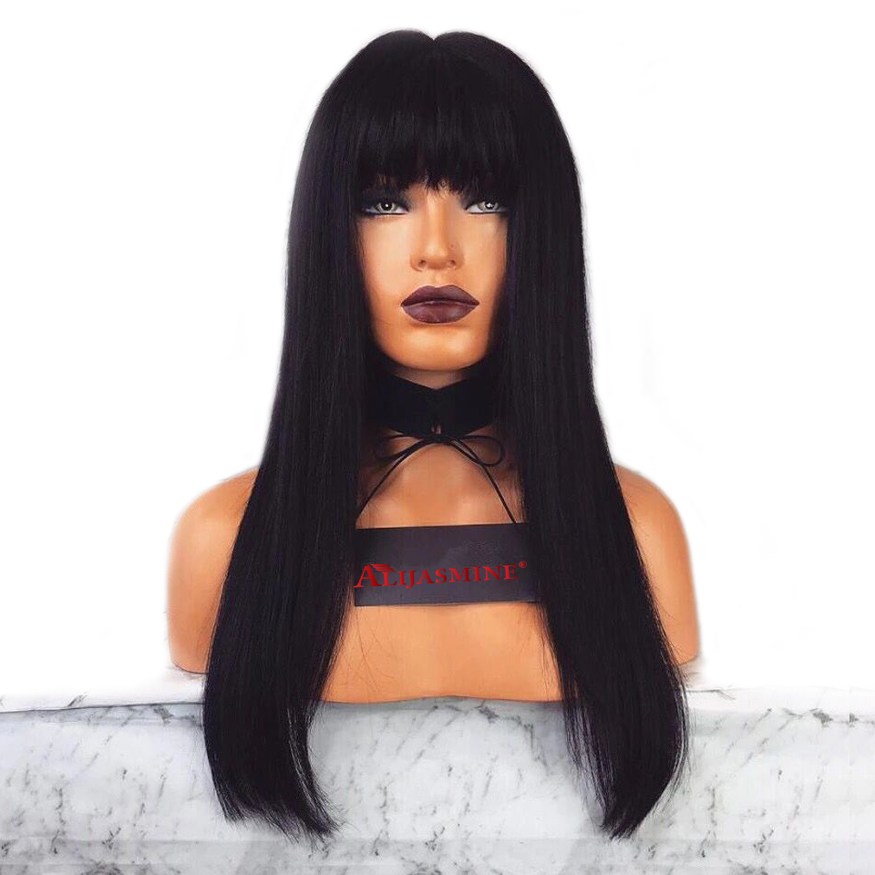 Long Straight Lace Front Wig Brazilian Glueless Lace Front Human Hair Wigs With Bang Pre Plucked