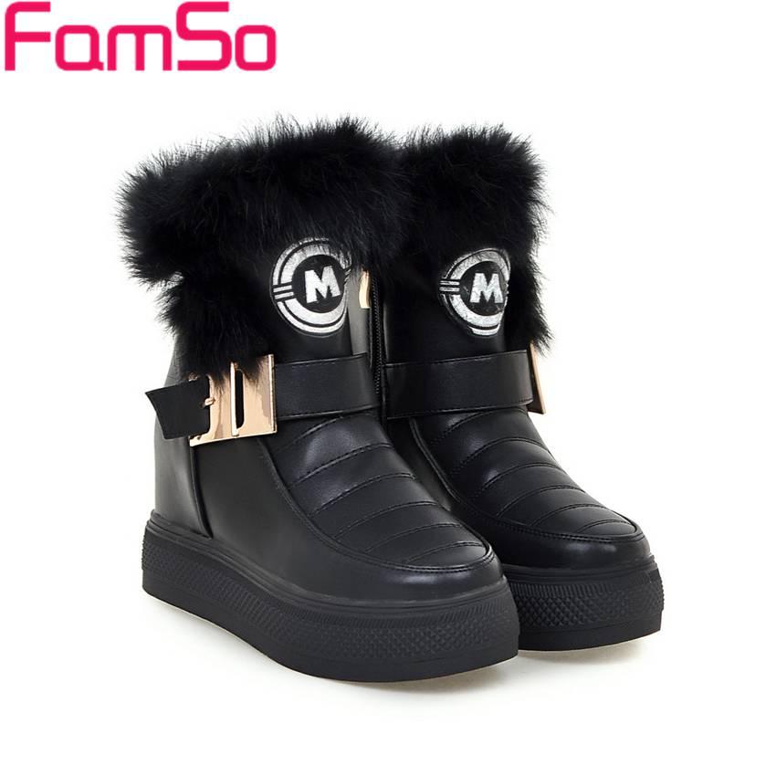 Plus Size 34 43 2016 new Sexy font b Women b font Boots Black White Fur