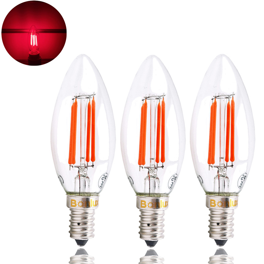 SES LED Red Filament Candle Bulb 4W Edison Screw E14 LED Decorative Red Fireglow Antique Candle Light Bulbs 40W Replacement led light bulb filament vintage edison e14 2 w 4 w c35 ac220v glass transparent shell cob led candle lamp 360 degree light bulb